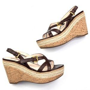 PRADA | 38 Cork Wedge Brown Leather Strappy Heel